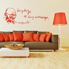 MAHATMA GANDHI My Life Is My Message VINYL WALL ART QUOTE STICKER DECAL