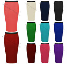 New Womens Midi Pencil Skirt Bodycon Stretch Jersey Tube Skirt Sizes 8 10 12 14