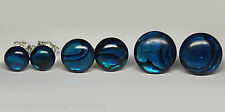 6mm 8mm 10mm ROUND BLUE ABALONE PAUA SHELL CAB 925 STERLING SILVER STUD EARRINGS