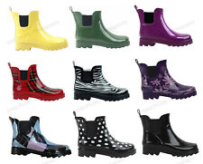 Womens Wellies wellington pull on Rubber Short Ankle Garden/Rain Boots,Size 5-11