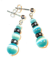 TEAL CAT'S EYE Earrings Black Swarovski Crystal Elements Sterling Silver Dangle