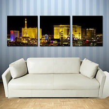 LAS VEGAS ready to hang  triptych mounted wall art print/better than canvas arts