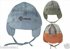 BABY BOY'S CHECKED SUMMER/SUN CAP WITH STRAP 42-48CM (6 12 18MTHS APPROX)