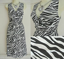 NEW Ex Wallis Black & White Zebra Print Summer Dress 8 10 12 14 16 18