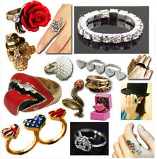 NEW Fashion Modern Rolling Stones Lips Skulls Diamond Crystal Rings Accessories