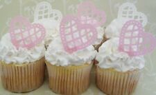 24 x gorgeous lace pink white edible wafer hearts cupcake cake toppers high tea