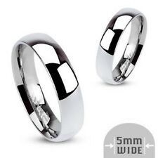 Personalized Stainless Steel 5mm Wide High Polished Traditional Band Ring