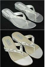 Benjamin Walk TOUCH UPS Bridal Evening Prom Shoes White OR Silver Sandal JINNI
