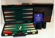 "BACKGAMMON SET BLACK VINYL 11"" 15"" 18"" STONES DICE CUPS DOUBLING CUBE BRAND NEW"