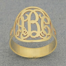 10k or 14k Solid Gold 3 Initial Circle Monogram Ring Jewelry NR32
