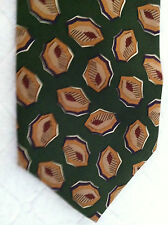 Chaps Ralph Lauren 100% Silk Tie~Made in USA~Green with Artistic Pattern~(#127)
