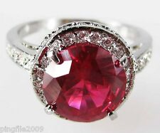 Size 6,7,8,9 Jewelry Woman's Ruby White Topaz 10KT White Gold Filled Ring