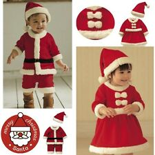 Baby Boy Girl Xmas Santa Claus Romper + Christmas Hat Jumpsuit Festival Outfits