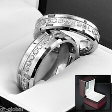 Tungsten Carbide Men's Women's Comfort Fit Wedding Band Ring CZ Inlay 8mm 6mm
