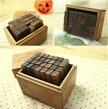 Antique Hand Writing Alphabet Letters Retro Wooden Stamp Seal Set w/ Box