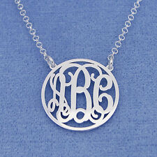 Sterling Silver 3 Initials Circle Monogram Necklace 3/4 inch Diameter SM41C
