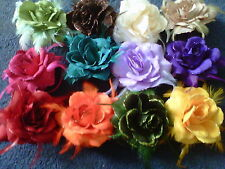 HAIR ROSE FLOWER CORSAGE BRACELET WITH FEATHERS ELASTIC CLIP PIN MANY COLOURS