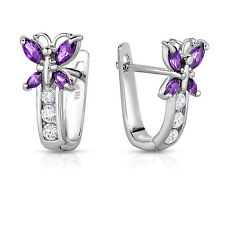 Sterling Silver CZ Birthstone Butterfly Gemstone Huggie Earrings Secure Back