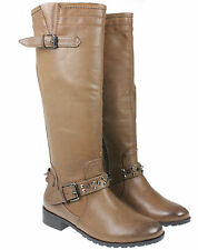 WOMENS LADIES BROWN KNEE HIGH RIDING ZIP BUCKLE STUDDED WINTER BOOTS UK3-8