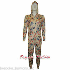 NEW LADIES WOMENS ANIMAL FLORAL JUMPSUIT PLAYSUITS TRACK SUITS HOODED ONESIE