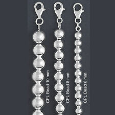 """ITALY Sterling Silver CPL BEAD Chain Necklace-BEAD Bracelet- Ball Chain (7""""~20"""")"""