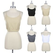 Junior Plus Size- Seamless Basic Cropped Solid Camisole Spaghetti Strap Tank Top