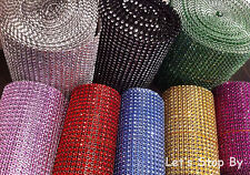 "4.5"" 30ft yard Diamond Mesh Rhinestone Ribbon Crystal Wedding Wrap Multi Colors"