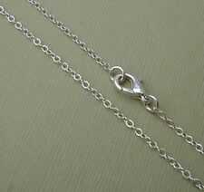 5 Chains Ready To Wear Silver Plated Flat Oval Cable- Pick Size.