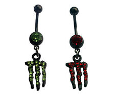 Monster Green,Pink Belly Button Ring Gauge 14G Stainless Steel