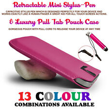 Hot Pink Pull Tab Leather Case Cover Pouch Slide In Sleeve+Mini Retractable Pen