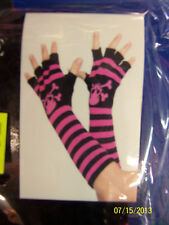Skull & Crossbones Fingerless Gloves Striped Adult Costume Accessory 4 COLORS