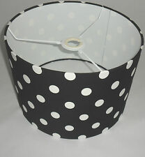 Hand Made Black Cotton Lampshade With White Polka-Dot Design