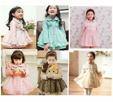 Girl Trench Coat Wind Jacket 2-7Y Kids Tulle Dress Pink Toddler Outwear Clothing