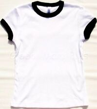 T-Shirt Shirt Top Tee Crew Neck Ringer Style White Black Youth Girls Bella Girl