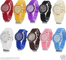 NEW Women's/Men HOT Luxury Geneva Silicone Quartz Ladies Sports Wrist Watch AAA