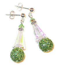 CLEAR AB & PERIDOT Crystal Earrings Silver Artemis Disco Ball Swarovski Elements