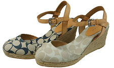 Coach Womens Valerie Blue Or Tan Platform Casual Wedge Ankle Strap Sandals