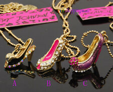 Betsey Johnson cute crystal high-heel shoe necklace, 3 colors, new ,gift box