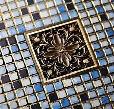 Bathroom Floor Drain Waste Grate Antique Brass Flower Carved Shower Drainer 017