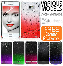 THIN AQUA RAINDROP CRYSTAL DESIGN HARD BACK CASE COVER FOR MOBILE PHONES