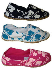 LADIES FLORAL FLOWER PRINT CANVAS PUMP DESIGN ESPADRILLES SHOE SIZE UK 4-8 NEW