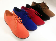 Womens Oxford Flats Booties Faux Suede Lace Up Loafer Boots Shoes, Colors, Sizes