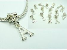 Silver Plated Initial Alphabet DANGLE CHARM fit European Bracelet Necklace ~A-Z~
