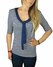 CLEARANCE SIZE 8-14 LADIES NAVY BLUE WHITE STRIPED STRETCHY NAVAL TOP EX NEXT