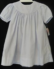 Petit Ami 3261 Light Blue Dress w White Piping, Monogramable,Girl's12-24M...