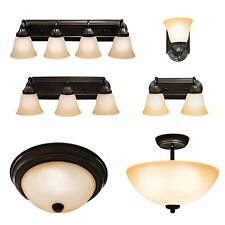 Oil Rubbed Bronze Ceiling Light and Bathroom Wall Vanity Lighting Fixtures