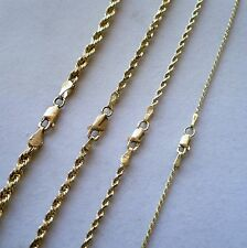 "AUTHENTIC 1mm, 2mm,3mm,4mm 10K SOLID YELLOW GOLD D/C ROPE CHAIN NECKLACE 16""-30"""