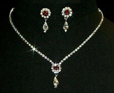 Diamante Sparkling Flower & Teardrop Necklace & Earrings Set with Coloured Stone