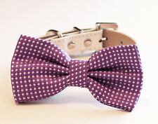 Purple dog bow tie Collar Puppy pet accessory Leather Wedding gift Handmade