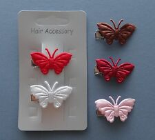 2 x Satin Butterfly hair clips - You choose both colours! 30-35mm